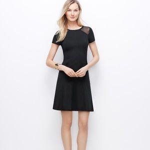 Ann Taylor Black Sheer Panel Flare Dress